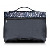 Ammoment - Struzzo in Nero Perla di Tahiti - Ventiquattrore in Pelle - Orion Business Bag