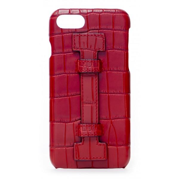 2 ME Style - Cover Fingers Croco Rosso / Rosso - iPhone 8 / 7 - Cover in Pelle di Coccodrillo