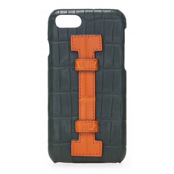 2 ME Style - Cover Fingers Croco Verde / Arancione - iPhone 8 / 7 - Cover in Pelle di Coccodrillo