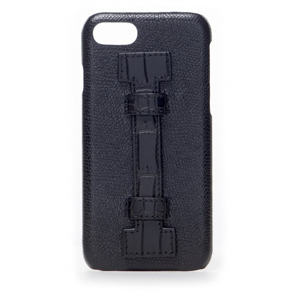 2 ME Style - Cover Fingers in Pelle Nera / Croco Nero - iPhone 8 / 7 - Cover in Pelle di Coccodrillo