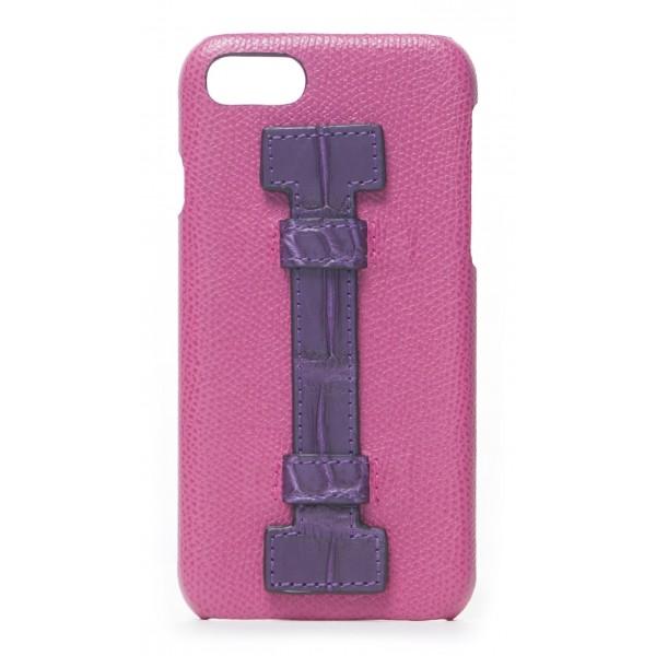2 ME Style - Cover Fingers in Pelle Fucsia / Croco Viola - iPhone 8 / 7 - Cover in Pelle di Coccodrillo