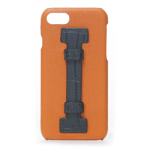 2 ME Style - Cover Fingers in Pelle Arancione / Croco Verde - iPhone 8 / 7 - Cover in Pelle di Coccodrillo