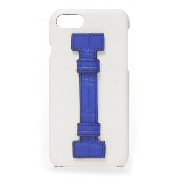 2 ME Style - Cover Fingers in Pelle Bianca / Croco Blu - iPhone 8 / 7 - Cover in Pelle di Coccodrillo