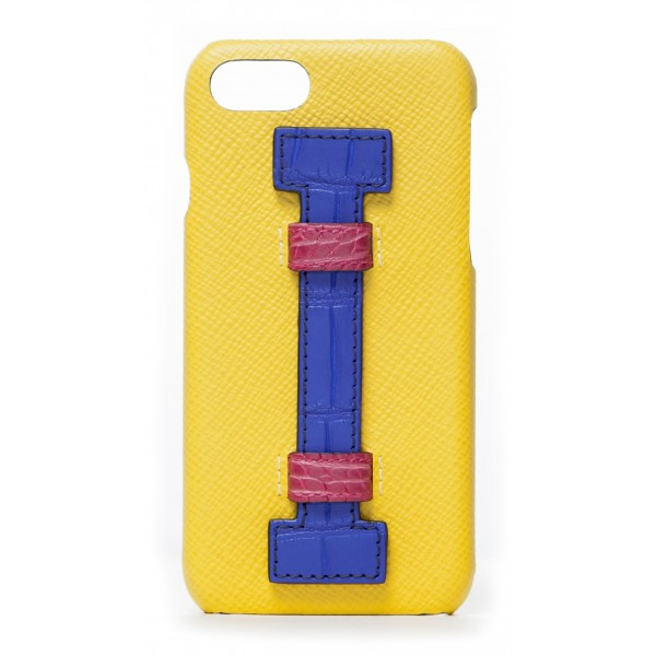 2 ME Style - Cover Fingers in Pelle Gialla / Croco Blu - iPhone 8 / 7 - Cover in Pelle di Coccodrillo