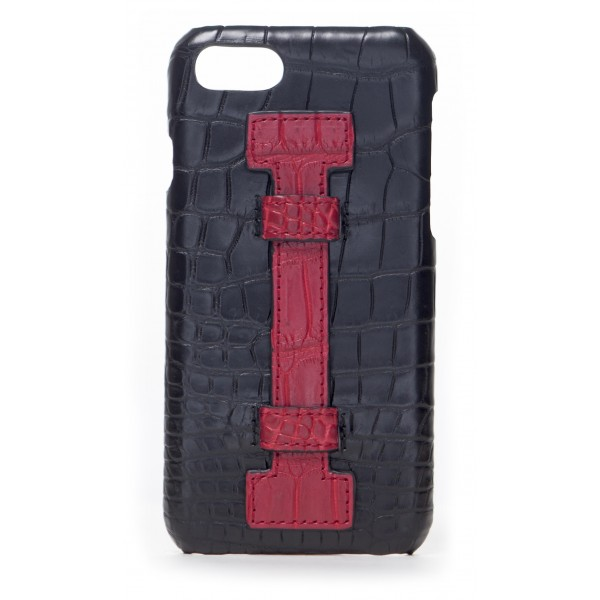 2 ME Style - Cover Fingers Croco Nero / Rosso - iPhone 8 Plus / 7 Plus - Cover in Pelle di Coccodrillo