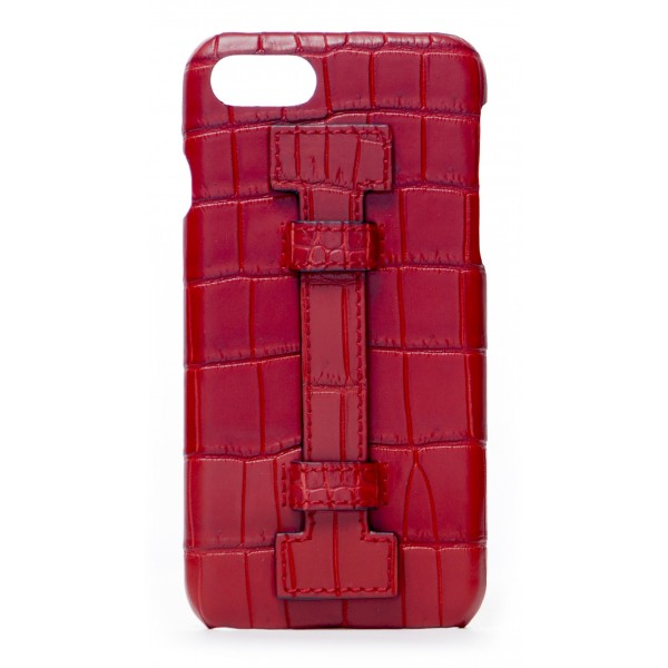 2 ME Style - Cover Fingers Croco Rosso / Rosso - iPhone 8 Plus / 7 Plus - Cover in Pelle di Coccodrillo