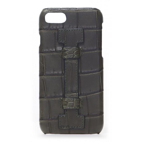 2 ME Style - Cover Fingers Croco Verde / Verde - iPhone 8 Plus / 7 Plus - Cover in Pelle di Coccodrillo
