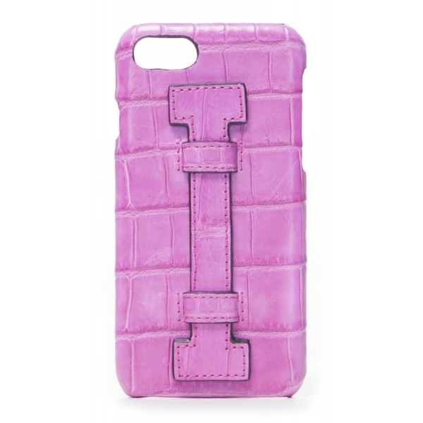 2 ME Style - Cover Fingers Croco Fucsia / Fucsia - iPhone 8 Plus / 7 Plus - Cover in Pelle di Coccodrillo