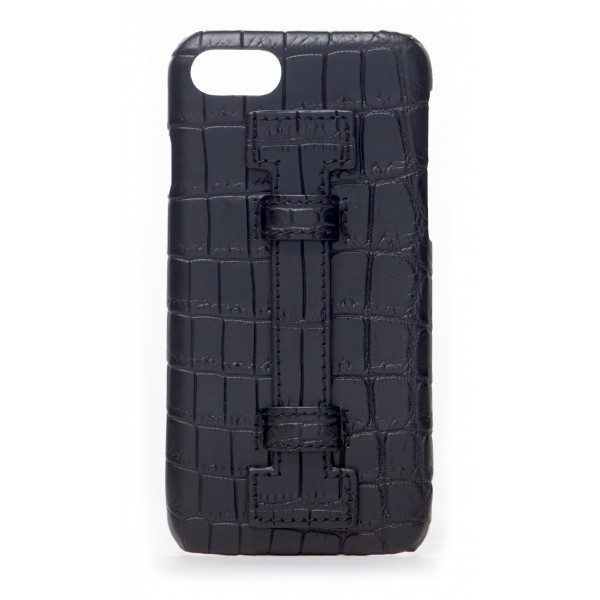 2 ME Style - Cover Fingers Croco Nero / Nero - iPhone 8 Plus / 7 Plus - Cover in Pelle di Coccodrillo