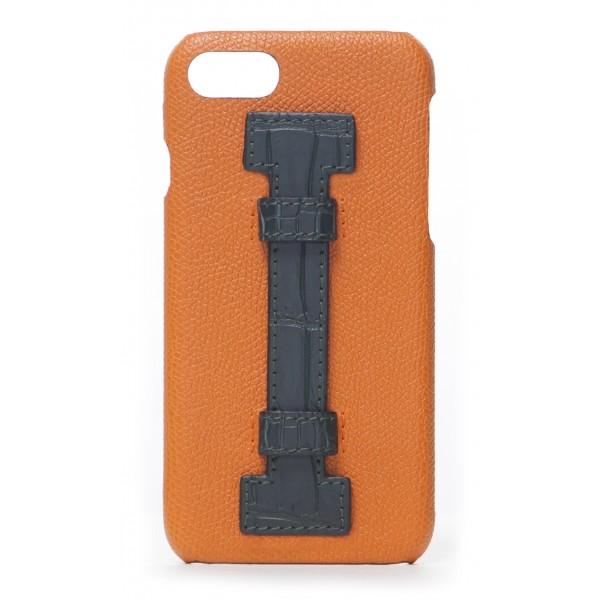2 ME Style - Cover Fingers in Pelle Arancione / Croco Verde - iPhone 8 Plus / 7 Plus - Cover in Pelle di Coccodrillo
