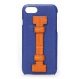2 ME Style - Cover Fingers in Pelle Blu / Croco Arancione - iPhone 8 Plus / 7 Plus - Cover in Pelle di Coccodrillo