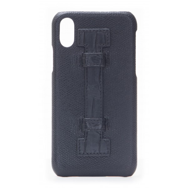 2 ME Style - Cover Fingers in Pelle Nera / Croco Nero - iPhone X - Cover in Pelle di Coccodrillo