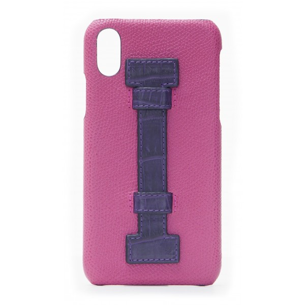 2 ME Style - Cover Fingers in Pelle Fucsia / Croco Viola - iPhone X - Cover in Pelle di Coccodrillo