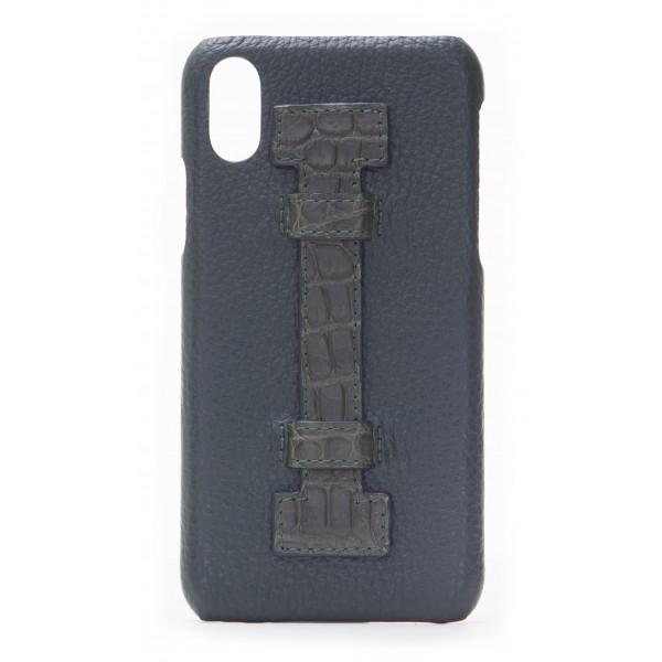 2 ME Style - Cover Fingers in Pelle Verde / Croco Verde - iPhone X - Cover in Pelle di Coccodrillo