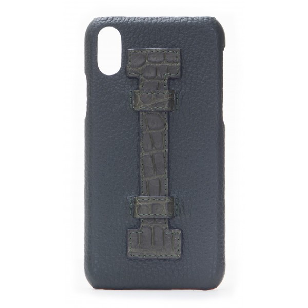 2 ME Style - Cover Fingers in Pelle Verde / Croco Verde - iPhone X / XS - Cover in Pelle di Coccodrillo