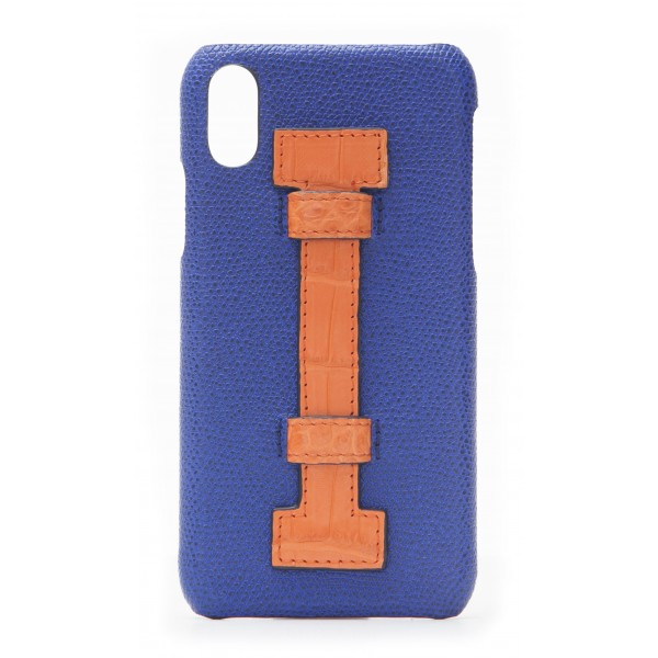 2 ME Style - Cover Fingers in Pelle Blu / Croco Arancione - iPhone X / XS - Cover in Pelle di Coccodrillo