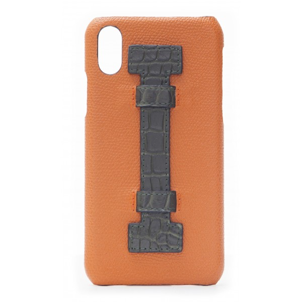 2 ME Style - Cover Fingers in Pelle Arancione / Croco Verde - iPhone X - Cover in Pelle di Coccodrillo