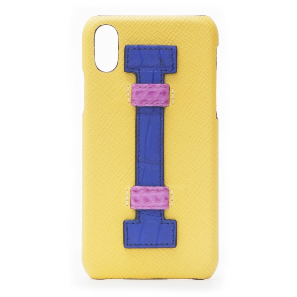2 ME Style - Cover Fingers in Pelle Giallo / Croco Blu - iPhone X / XS - Cover in Pelle di Coccodrillo