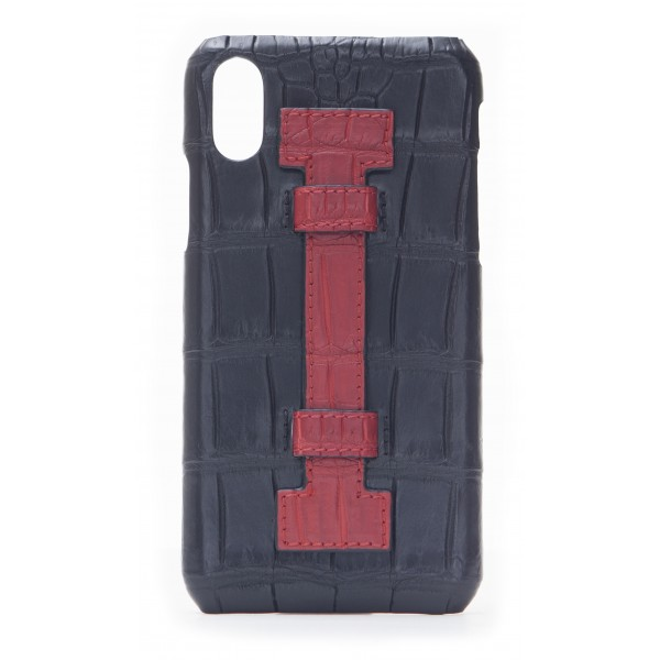 2 ME Style - Cover Fingers Croco Nero / Rosso - iPhone X / XS - Cover in Pelle di Coccodrillo