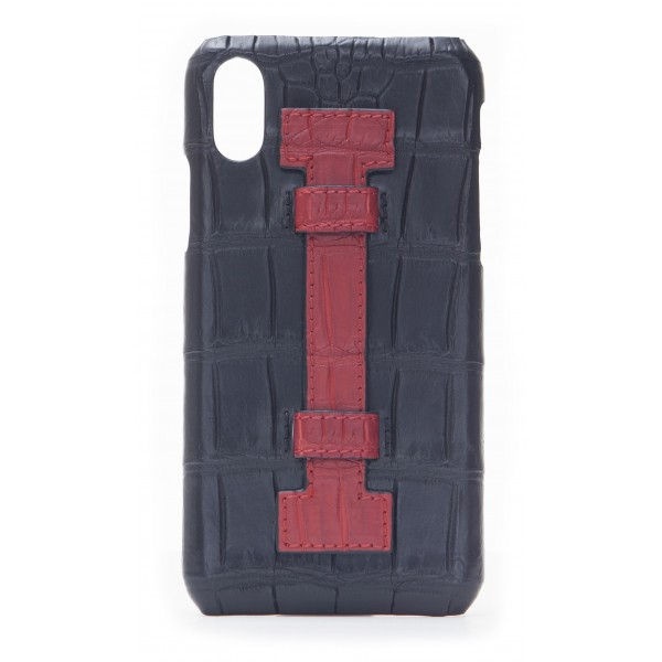 2 ME Style - Cover Fingers Croco Nero / Rosso - iPhone X - Cover in Pelle di Coccodrillo