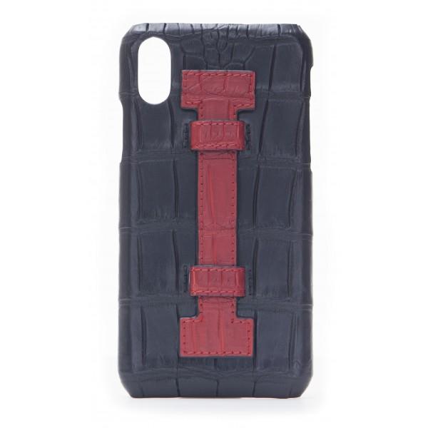 2 ME Style - Cover Fingers Croco Nero / Rosso - iPhone X / XS - Cover in Pelle di Coccodrillo