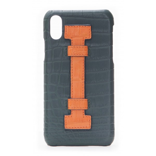 low cost eb430 10351 2 ME Style - Case Fingers Croco Green / Orange - iPhone X / XS - Crocodile  Leather Cover