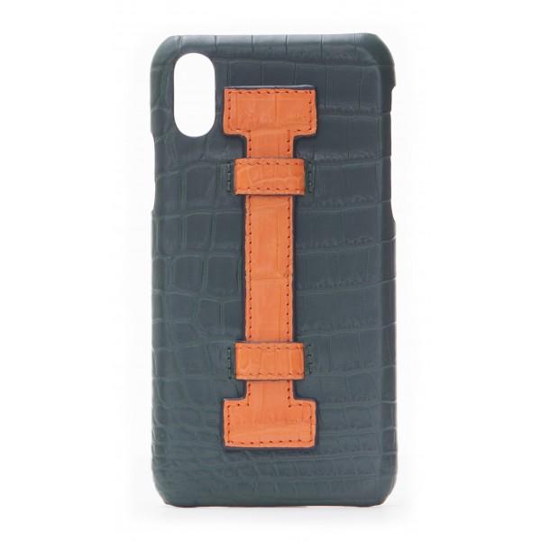 2 ME Style - Cover Fingers Croco Verde / Arancione - iPhone X / XS - Cover in Pelle di Coccodrillo