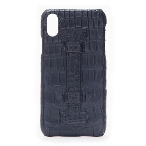 2 ME Style - Cover Fingers Croco Nero / Nero - iPhone X - Cover in Pelle di Coccodrillo