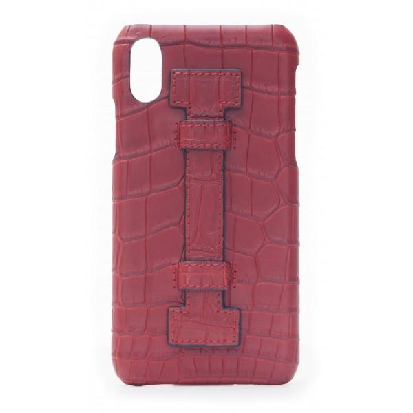 2 ME Style - Cover Fingers Croco Rosso / Rosso - iPhone X - Cover in Pelle di Coccodrillo