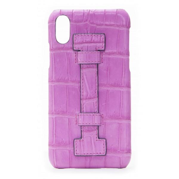 2 ME Style - Case Fingers Croco Fucsia / Fucsia - iPhone X - Crocodile Leather Cover
