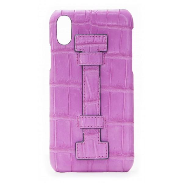 2 ME Style - Case Fingers Croco Fucsia / Fucsia - iPhone X / XS - Crocodile Leather Cover