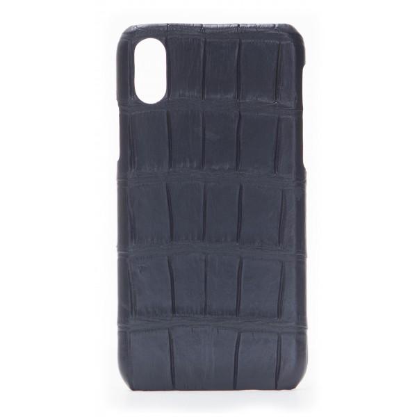 2 ME Style - Case Croco Black - iPhone X / XS - Crocodile Leather Cover