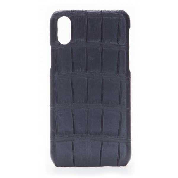 2 ME Style - Cover Croco Nero - iPhone X - Cover in Pelle di Coccodrillo