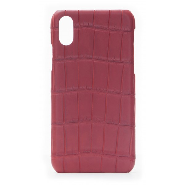 2 ME Style - Case Croco Rouge Vif - iPhone X / XS - Crocodile Leather Cover