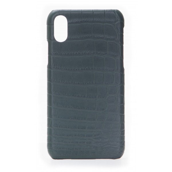 2 ME Style - Cover Croco Verde Bouteille - iPhone X / XS - Cover in Pelle di Coccodrillo