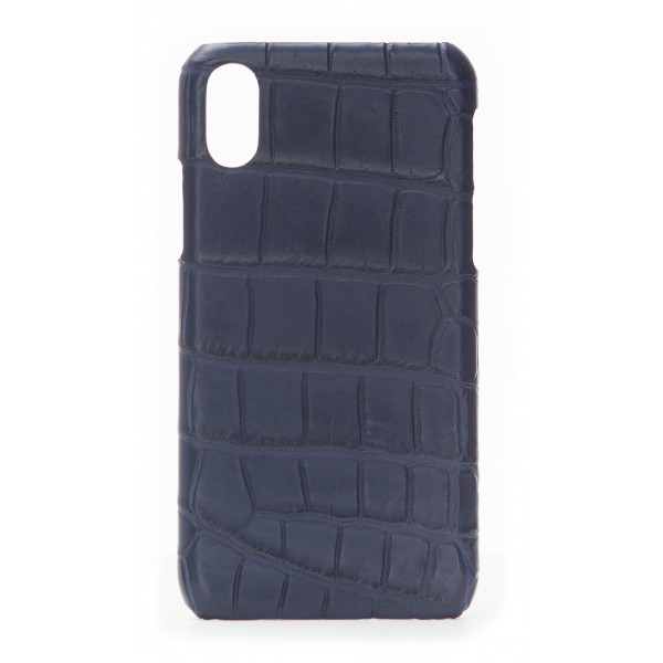 2 ME Style - Cover Croco Blu - iPhone X - Cover in Pelle di Coccodrillo