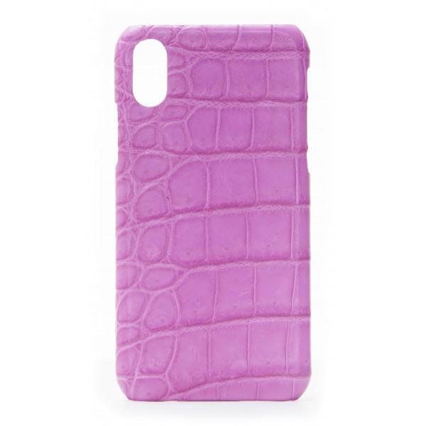 2 ME Style - Case Croco Fucsia- iPhone X - Crocodile Leather Cover