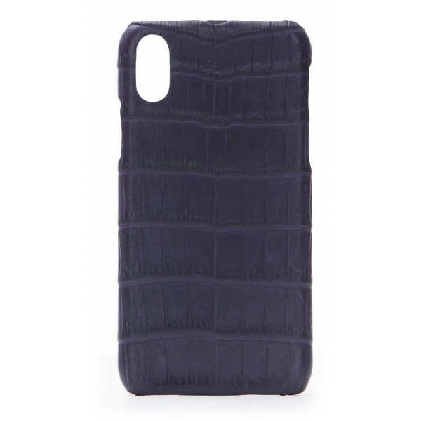 2 ME Style - Cover Croco Viola Scuro - iPhone X / XS - Cover in Pelle di Coccodrillo