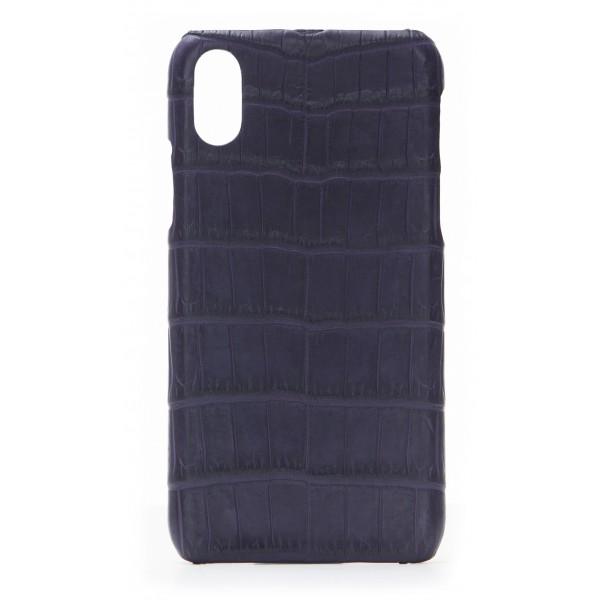 2 ME Style - Cover Croco Viola Scuro - iPhone X / XS - Cover in Pelle di Coccodrillo