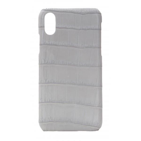 2 ME Style - Cover Croco Grigio Chiaro - iPhone X - Cover in Pelle di Coccodrillo