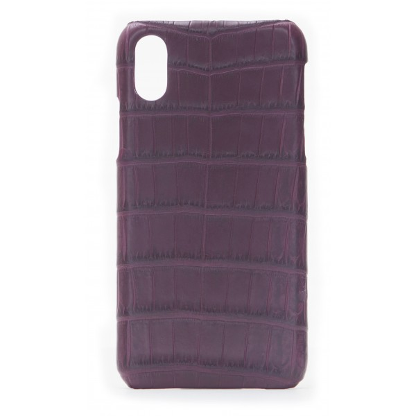 2 ME Style - Case Croco Bordeaux - iPhone X / XS - Crocodile Leather Cover