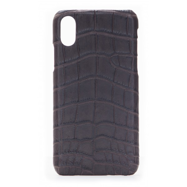 2 ME Style - Cover Croco Marrone - iPhone X / XS - Cover in Pelle di Coccodrillo