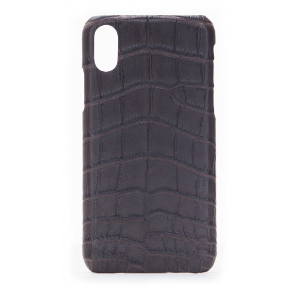 2 ME Style - Cover Croco Marrone - iPhone X - Cover in Pelle di Coccodrillo