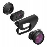 olloclip - Set Lenti Core - Lenti Nere / Clip Nero - iPhone 8 / 7 / 8 Plus / 7 Plus - Fisheye Grandangolo Macro 15X - Set Lenti