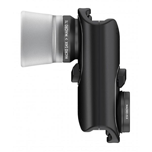 olloclip - Set Lenti Macro Pro - Lenti Nere / Clip Nero - iPhone 8 / 7 / 8 Plus / 7 Plus - Lenti Macro 7X 14X 21X - Set Lenti