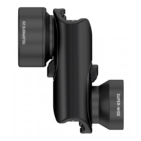 olloclip - Set Lenti Vista - Lenti Nere / Clip Nero - iPhone 8 / 7 / 8 Plus / 7 Plus - Teleobiettivo e Super-Wide - Set Lenti