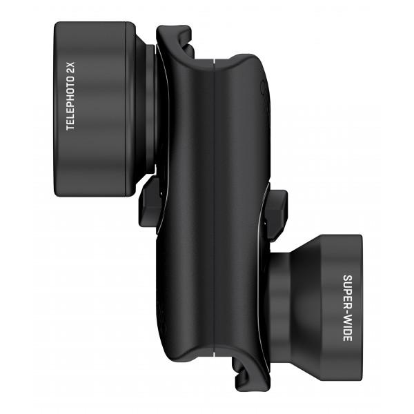olloclip - Vista Lens Set - Black Lens / Black Clip - iPhone 8 / 7 / 8 Plus / 7 Plus - Telephoto and Super-Wide - Lens Set