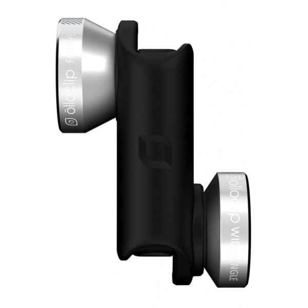 olloclip - Set Lenti 4 in 1 - Argento / Clip Nero - iPhone 6 / 6s / 6 Plus / 6s Plus - Fisheye Grandangolo Macro - Set Lenti