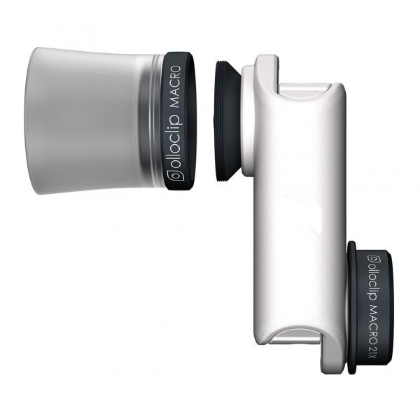 olloclip - Set Lenti Macro Pro - Bianco / Clip Bianco - iPhone 6 / 6s / 6 Plus / 6s Plus - Macro 7X 14X 21X - Set Lenti