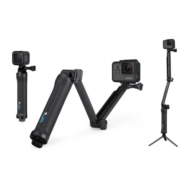 GoPro - 3 Way - Black - Grip - Extension Arm - Stand - Usable with GoPro HERO6 / HERO5 - 4K 1080p